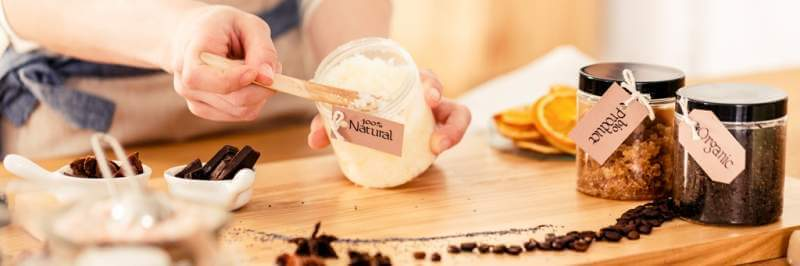 person-mixing-natural-coconut-mass