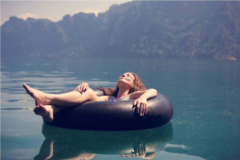 woman-relaxing-on-a-floating-ring