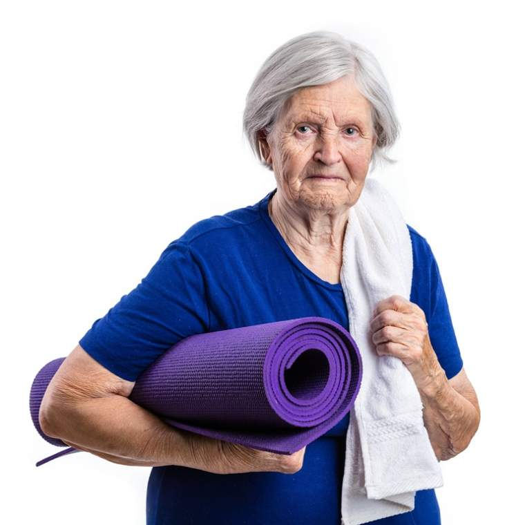 senior-woman-holding-yoga-mat-over-white