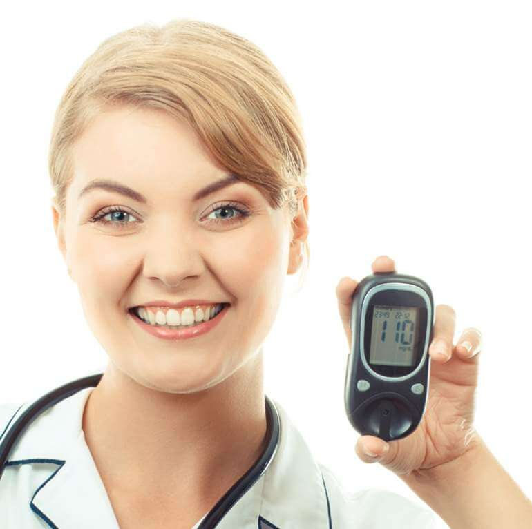 vintage-photo-woman-holding-glucose-meter