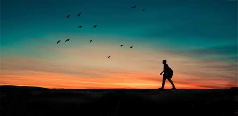 Men travel sunrise