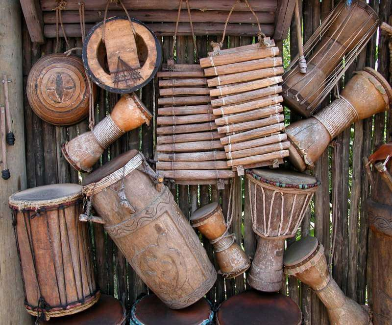 african-instruments-background