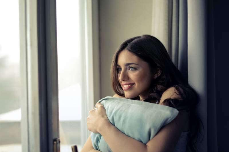 women pillow happy