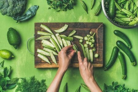 flat-lay-of-healthy-green-vegan-cooking