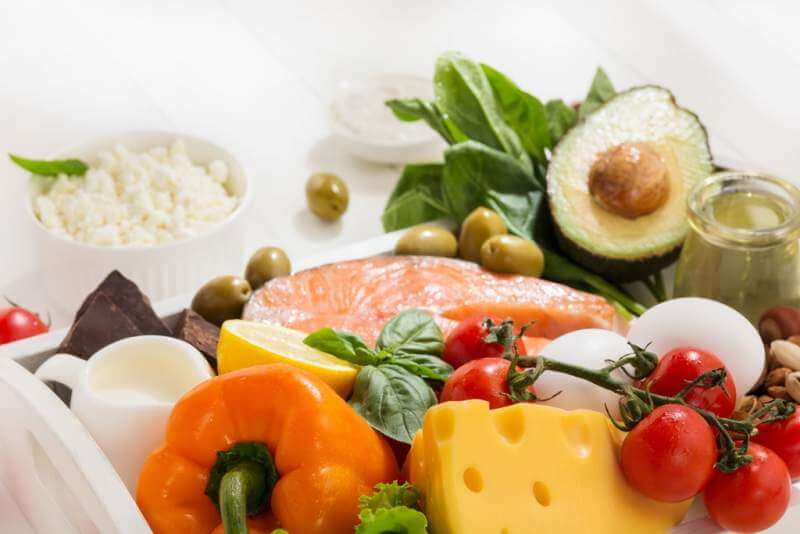 ketogenic-low-carbs-diet-food-selection-on-white